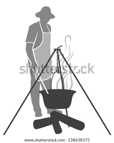 cooking fish soup in a pot on the fire (cooking dinner in a campaign on fire, pot with fish soup, cooking fish soup on the fire) - stock vector