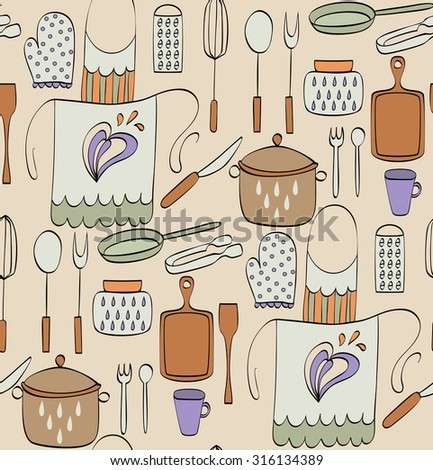 Cooking Food and  kitchenware. Hand drawn seamless pattern