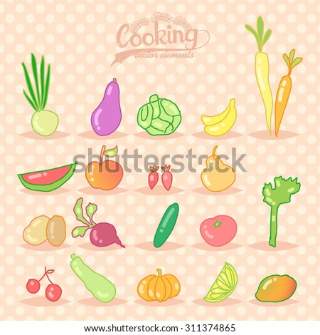 Cooking. Fruit and vegetables. Cartoon vector set