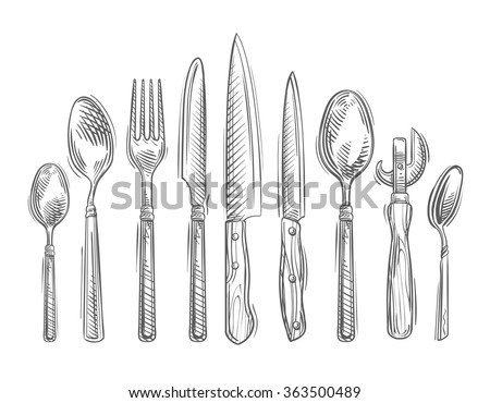 Cooking. Hand-drawn set of kitchen tools - spoon, fork, knife, bottle opener, teaspoon