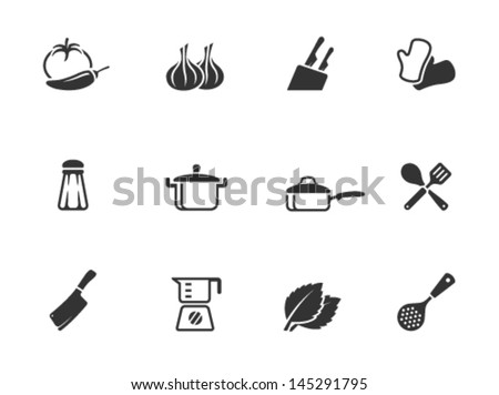 Cooking icons in single color - stock vector