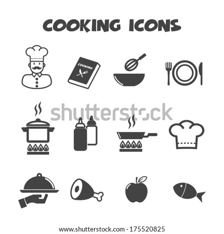 cooking icons, mono vector symbols - stock vector