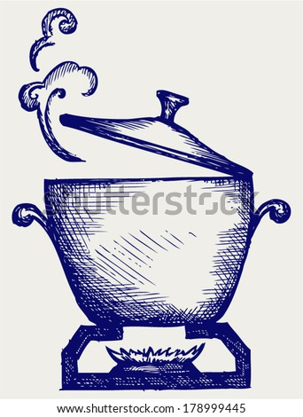 Cooking in the metal pan. Doodle style - stock vector