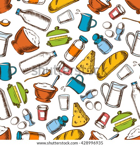 Cooking ingredients background for kitchen interior design with seamless retro pattern of eggs, cheese and breads, butter and sour cream, flour and sugar, bottles and jugs of milk