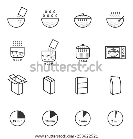 Cooking instruction icons set - stock vector