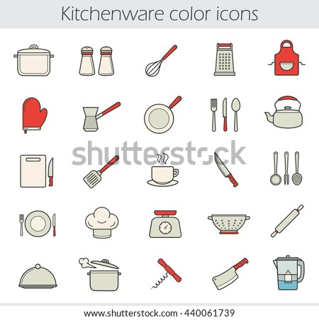 Cooking instruments color icons set. Kitchen tools and appliances. Household cooking utensils. Kitchenware. Tea and coffee items. Restaurant chef's equipment. Vector isolated illustrations - stock vector