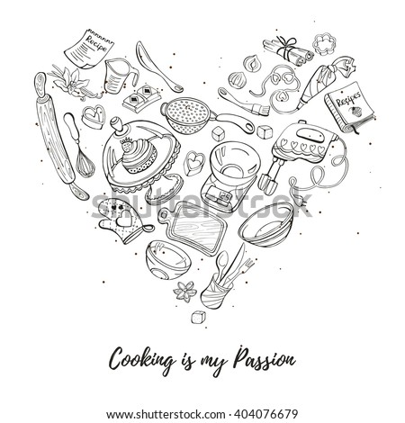 Cooking is my passion. Baking tools in heart shape. Recipe book background concept. Poster with hand drawn kitchen utensils.  - stock vector