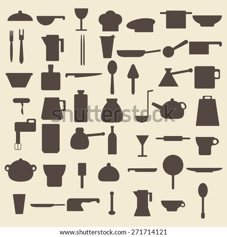 Cooking items silhouette icons set. Perfect for web design editable vector illustration.
