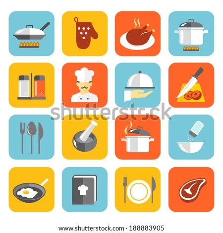 Cooking kitchen and restaurant flat icons set with pan glove chicken chef isolated vector illustration - stock vector