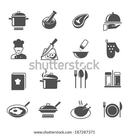 Cooking kitchen and restaurant icons set with utensil chef and food isolated vector illustration - stock vector