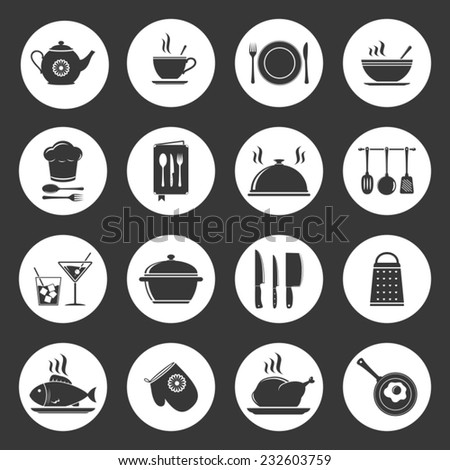 Cooking & kitchen icon set - stock vector
