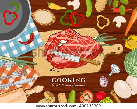 Cooking kitchen table time to cook cooking recipes fresh meat and vegetables - stock vector