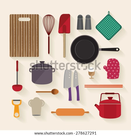 Cooking Kitchen Tools Flat, Vector illustration