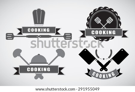 cooking labels set with cooking symbols isolated vector illustration 0165 - stock vector