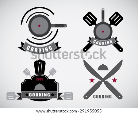 cooking labels set with cooking symbols isolated vector illustration 0166 - stock vector