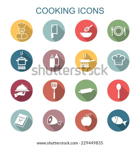cooking long shadow icons, flat vector symbols - stock vector