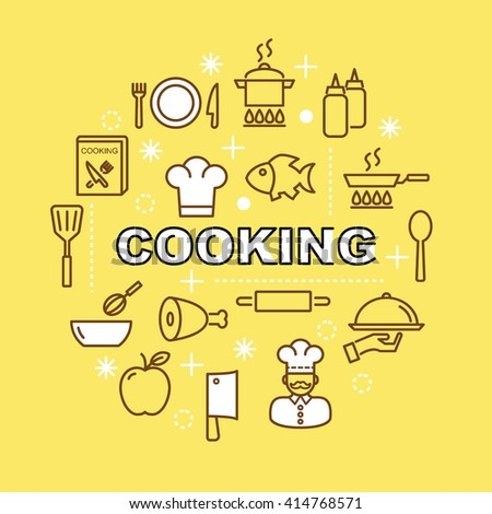 cooking minimal outline icons, vector pictogram set - stock vector