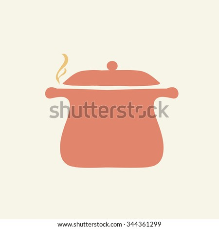 Cooking pan icon. Casserole with steam. Vector image. - stock vector