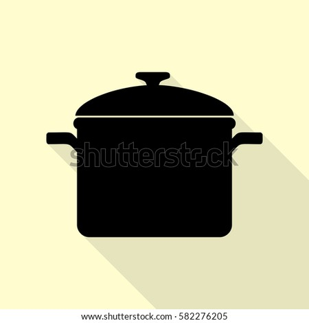 Cooking pan sign. Black icon with flat style shadow path on cream background.