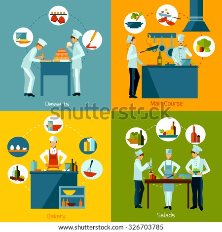 Cooking people making salads main course and bakery design concept set isolated vector illustration - stock vector