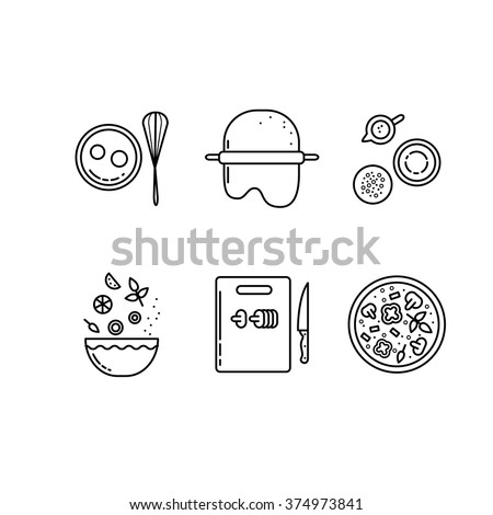 Cooking pizza line icons set. Making food at kitchen - stock vector