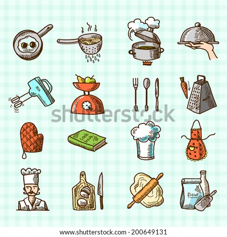 Cooking process delicious food sketch colored icons set isolated on squared background vector illustration - stock vector