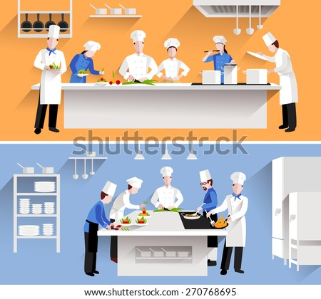 Cooking process with chef figures at the table in restaurant kitchen interior isolated vector illustration - stock vector