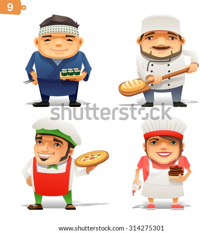 Cooking professions set - stock vector