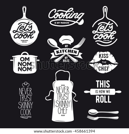 Cooking Related Typography Set Quotes About Stock Vector