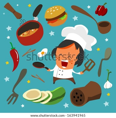 cooking set flat. hand drawn Vector illustration - stock vector