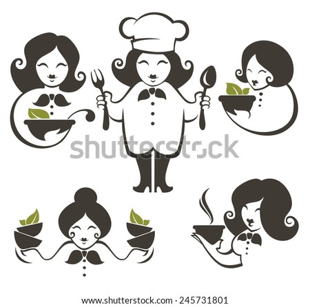 cooking symbols, food and cartoon woman chief silhouettes, vector collection emblems for your menu - stock vector