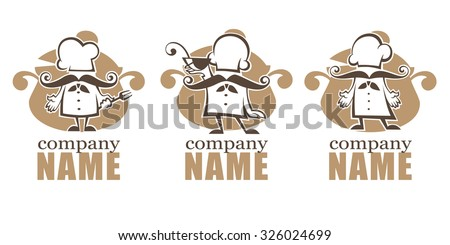 cooking symbols, food and chef silhouettes, vector collection emblems and logo for your menu - stock vector