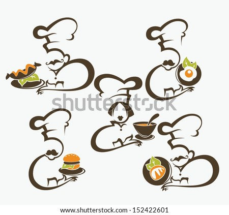 cooking symbols, food and chief silhouettes, vector collection - stock vector