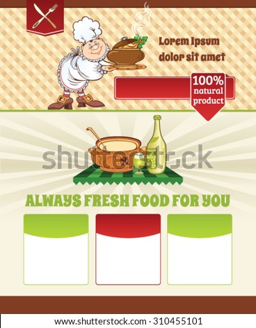 Cooking template with a Chief - stock vector