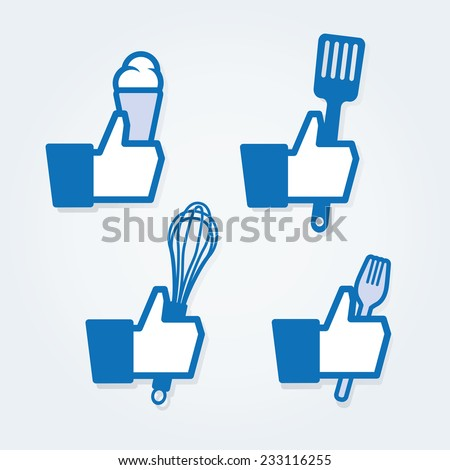 Cooking thumbs - stock vector