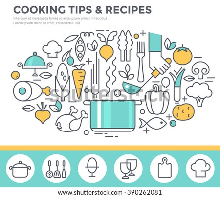 Cooking tips and recipes concept illustration, thin line flat design - stock vector