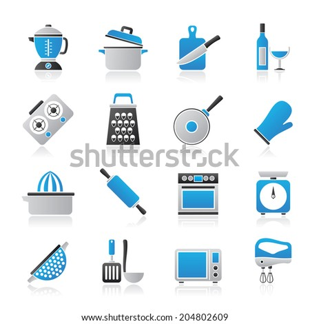 cooking tools icons - vector icon set - stock vector