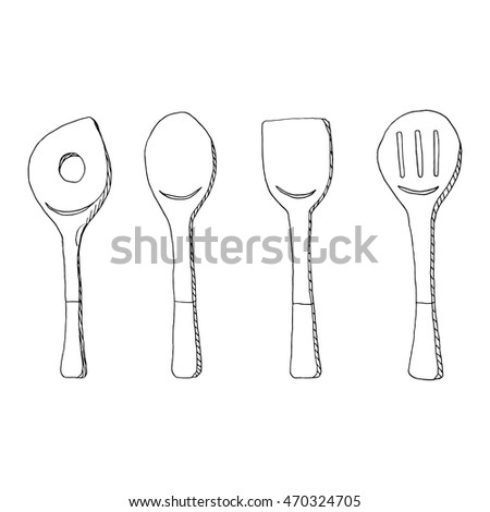 Cooking tools line art illustration; food accessory design concept