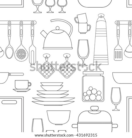 Cooking tools pattern - stock vector