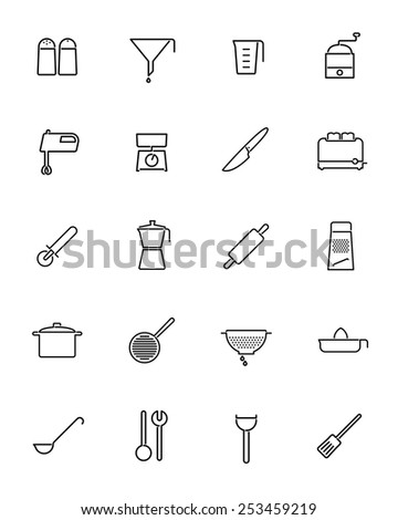 Cooking utensils and appliances Vector Line Icons Collection. Set of 20 kitchen and cooking related line icons - stock vector