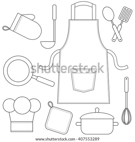 Cooking utensils, kitchenware icons isolated on white - stock vector