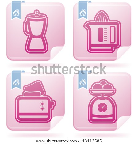 Cooking utensils, listed from left to right:  Blender, Juicer, Toaster, Kitchen scale. - stock vector