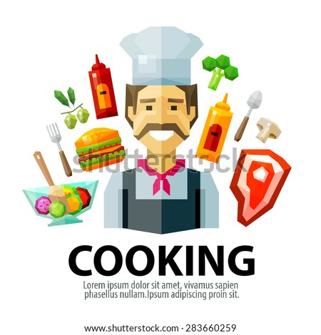 cooking vector logo design template. fresh food or chef, cook icon - stock vector