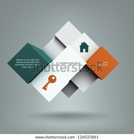 Cool abstract background with a composition of cubes with copyspace on them. EPS10 vector. - stock vector