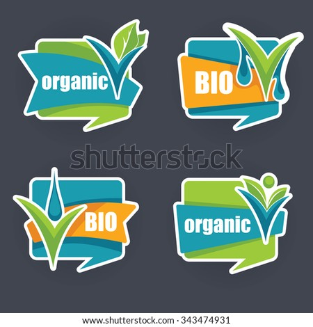 cool and bright organic stickers and labels collection - stock vector