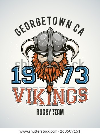 Cool and tough sports team vector logo with a brutal viking warrior with a horned helmet and a red beard. Sample text goes around the badge. - stock vector