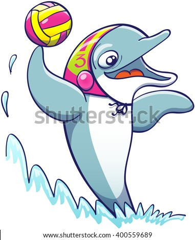 Cool athletic dolphin wearing a colorful cap, smiling and keeping balance out of the water thanks to the power of its tail while holding a ball and preparing to shoot while playing water polo - stock vector