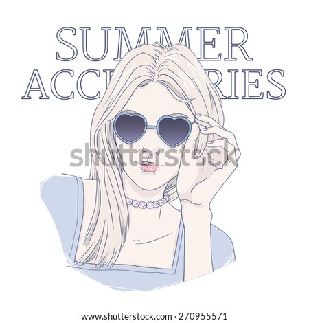 Cool blonde girl smiling, with heart shaped sunglasses. Fashion and beauty hand drawn illustration. - stock vector