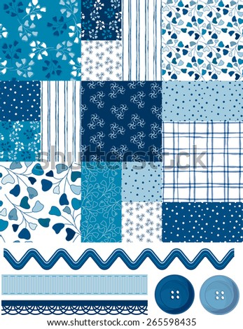 Cool Blue Patchwork square pattern and Icons.  Use as fills, wallpaper, digital paper or print off onto fabric to create unique home furnishings. - stock vector