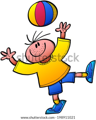 Cool boy smiling, wearing a yellow tee and blue shorts and playing animatedly while throwing a colorful ball up and stretching his arms to trap it again - stock vector
